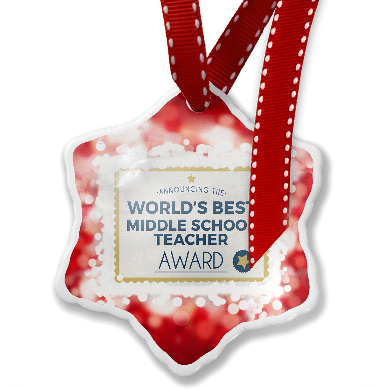 Christmas Ornament Worlds Best Middle School Teacher Certificate Award, red - Neonblond