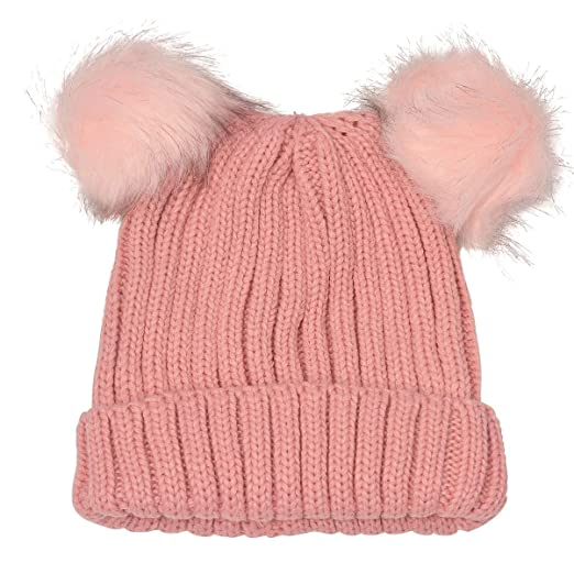 2788dc0f03a Image Unavailable. Image not available for. Color  Angela   William Juniors Pink  Faux Fur Pom-Pom Embellished Bear Winter Hat