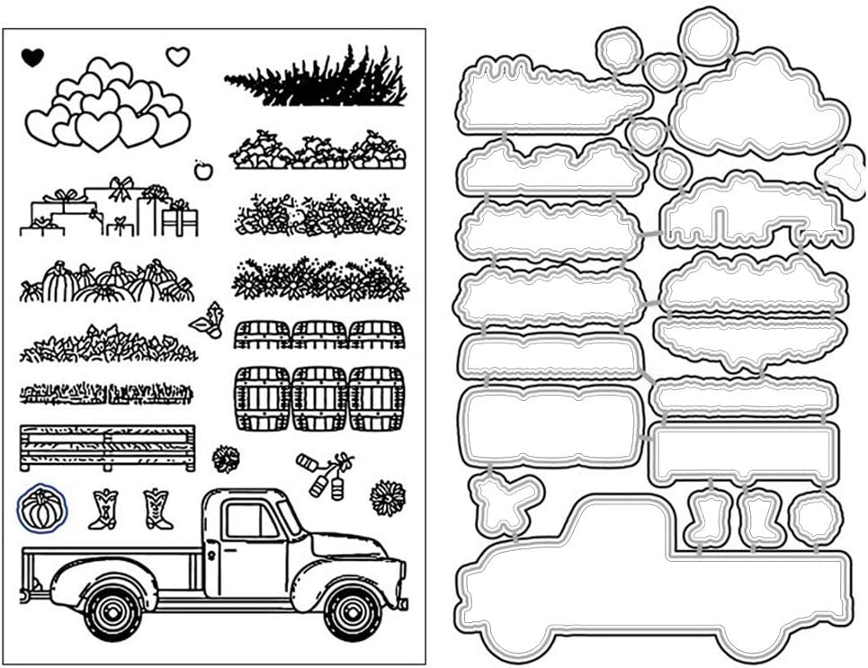 GaoCold - Farm Harvest Goods Cutting Dies with Stamps, Seal Silicone Stamps Design, for Card Making Crafting Scrapbooking