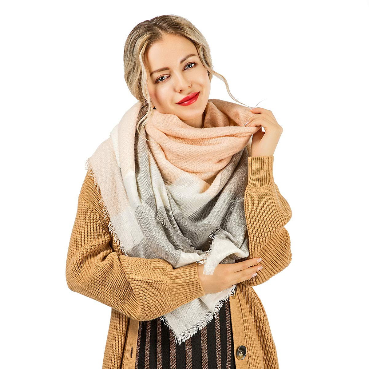 WISH CLUB Frauen Winter Schal Gitter weich Chunky Square Schals Damen warm Schal Plaid Wrap Decke