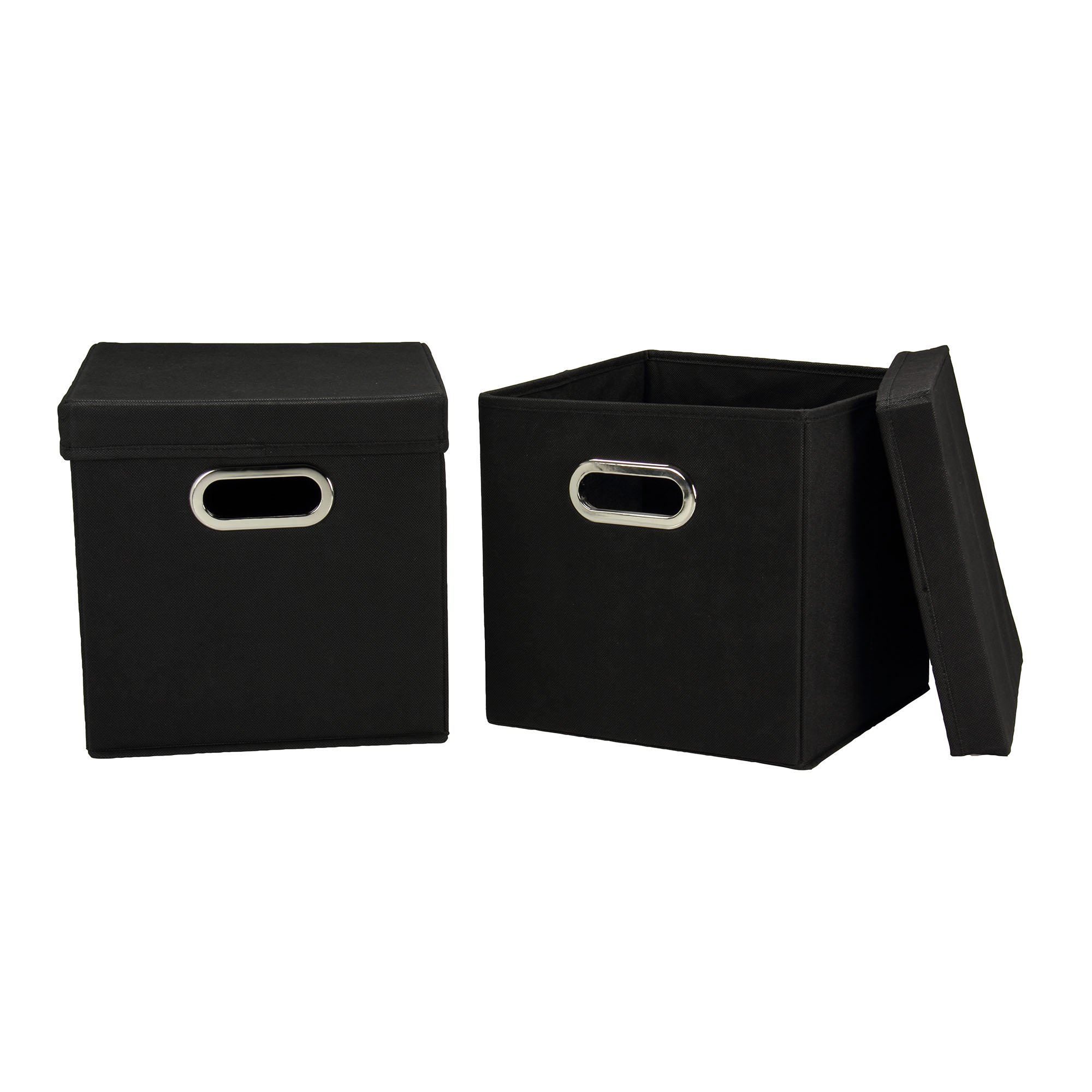 Household Essentials 34-1 Decorative Storage Cube Set with Removable Lids | Black | 2-Pack by Household Essentials