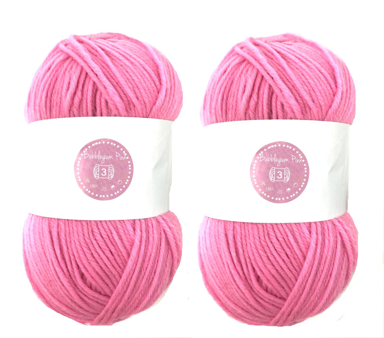 Bubblegum Pink House of Cecilia 2 x 100g balls 100% acrylic knitting yarn crochet crafts