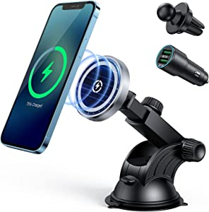 15W Magnetic Car Wireless Charger for iPhone 12/12 Pro/ 12 Pro Max/12 Mini, Auto-Alignment Air Vent Dashboard Car Charging Mount - Compatible with MagSafe Fast Charging(with QC3.0 Car Charger)