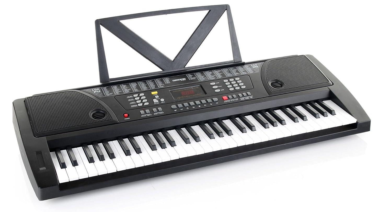 Kirstein teclado Fun Keyboard 61 teclas incl. adaptador y deposito para notas color plata: Amazon.es: Instrumentos musicales