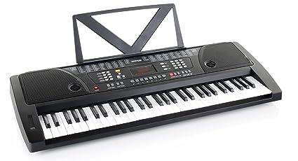Kirstein teclado Fun Keyboard 61 teclas incl. adaptador y deposito para notas color plata
