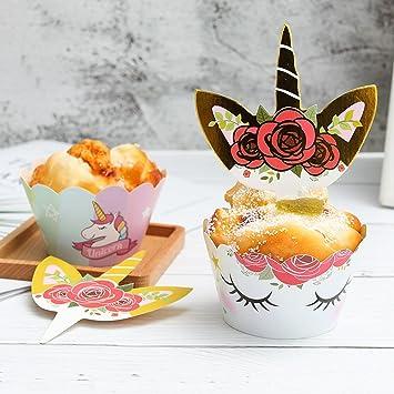 Yorgewd 24 Stuck Einhorn Cupcake Wrapper Topper Picks Baby Madchen