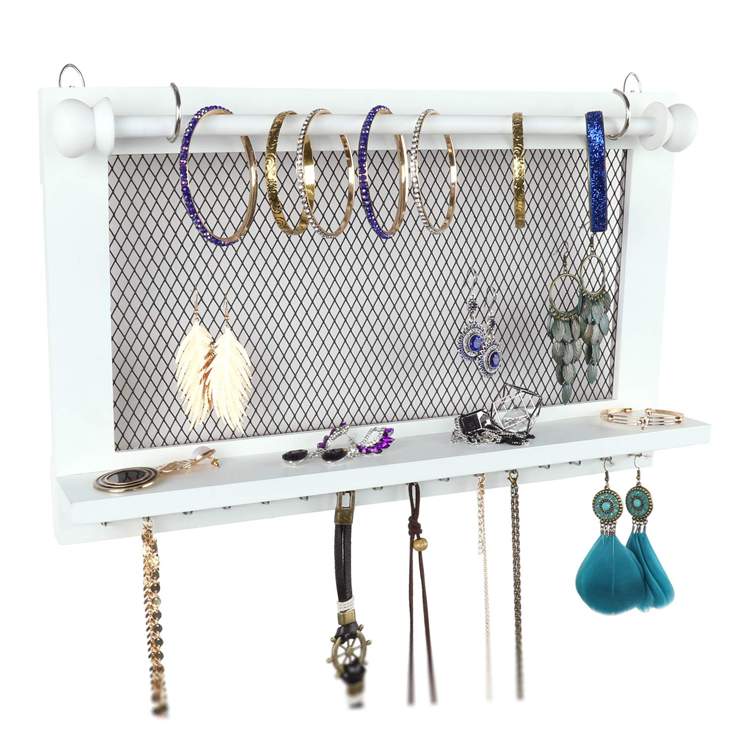 Caroeas Jewelry Organizer, Jewelry Holder Wall Mounted with Removable Bracelet Rod Wooden Jewelry Organizer with Silver Hooks for Necklaces/Earrings/Keys/Accessories (White)