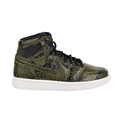 new styles 0ee93 718fc Image Unavailable. Image not available for. Color  Jordan AH7389-302  Womens  Jordan 1 Retro High Premium Olive Canvas Black Sneaker