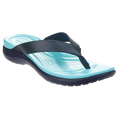 6f0d584c38a4 Crocs Womens Ladies Capri V Summer Flip Flops (8 UK) (Navy Pool)   Amazon.co.uk  Shoes   Bags