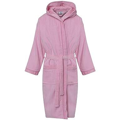 Kids Boys Girls 100% Cotton Super Soft Luxury Bathrobe Hooded Velour ...