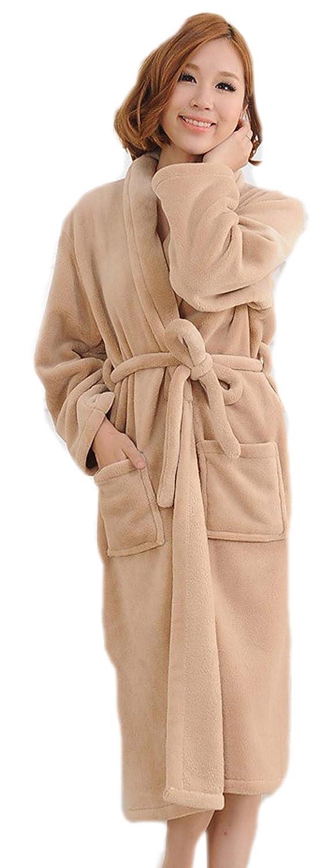 BIFINI Unisex Khaki Hotel Spa Collection Super Plush Microfiber Fleece Bathrobe Robe
