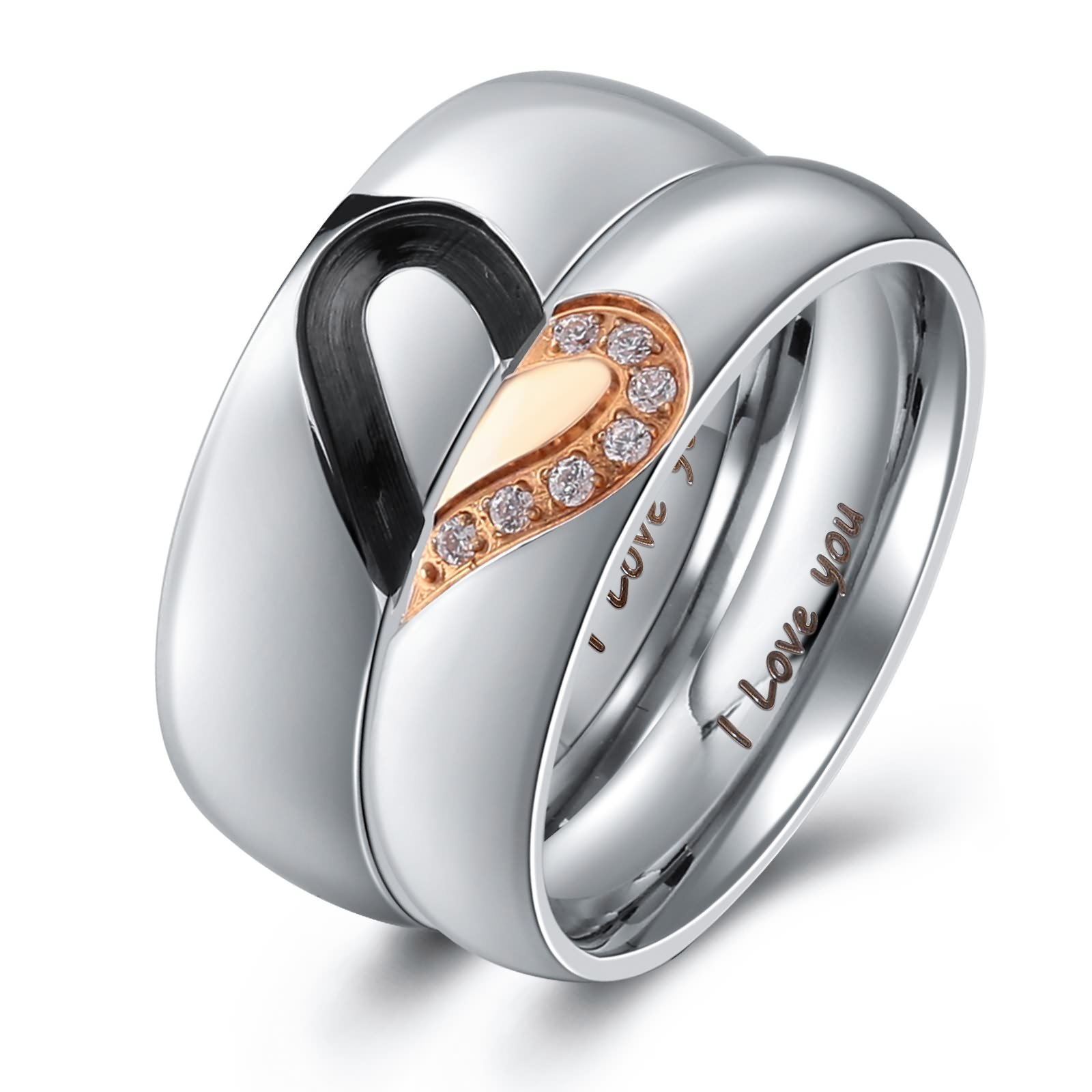 Aienid Rings Men and Women Couple Rings Heart I Love You Stainless Steel Wedding Bands for Womens Size 7 by Aienid (Image #1)