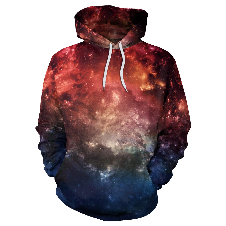 Mrsrui 3D Print Galaxy Hooded Shirts with Pockets for Men,Women, Teen by Mrsrui