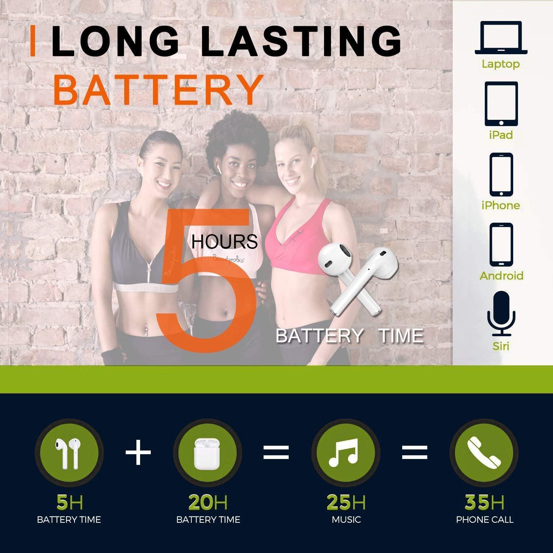 Bluetooth Kopfh/örer,In-Ear Kabellose Kopfh/örer,Bluetooth Headset,Sport-3D-Stereo-Kopfh/örer,mit 24H Ladek/ästchen und Integriertem Mikrofon Auto-Pairing f/ür Samsung//Huawei//iPhone//Airpod//Android//Apple