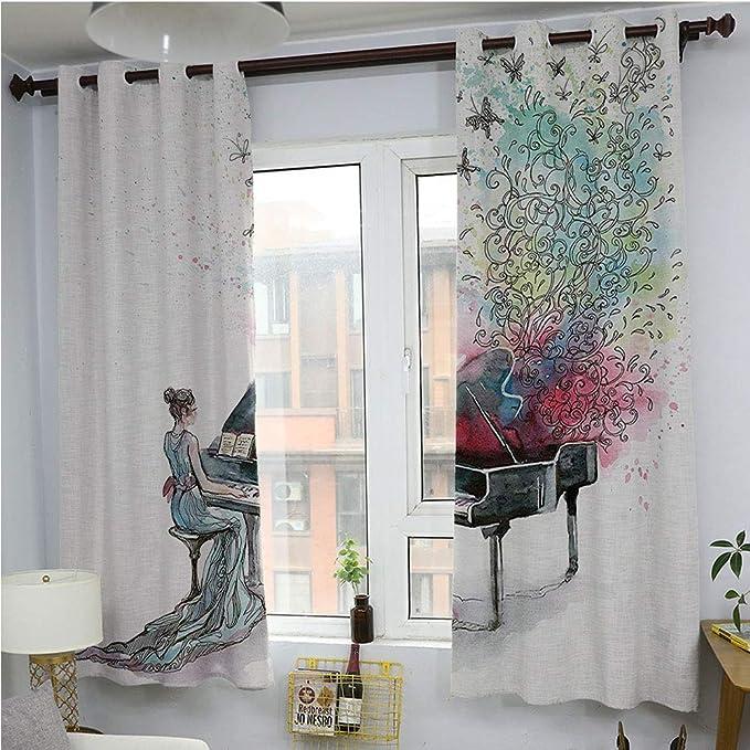 Cortina de setas para sala de estar, paneles de cortina para puerta de patio, estilo vintage, diseño de setas de bosque, hojas de sabrosos alimentos veganos, decoración del hogar, cortinas opacas, color