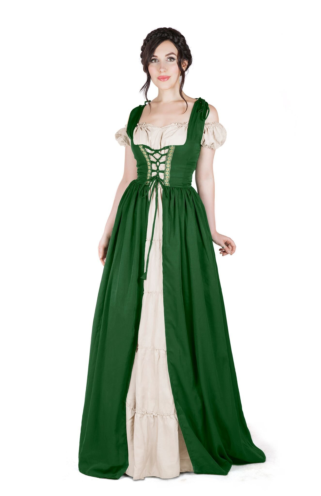 I Do Declare Renaissance Medieval Irish Costume Over Dress & Boho Chemise Set (L/XL, Hunter Green)
