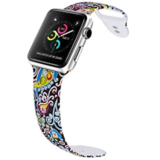 VODKE for Apple Watch Bands, Soft Silicone Strap Replacement iWatch Wristbands for Apple Watch Sport Series 3 Series 2 Series 1 Type-F218 42mm M/L