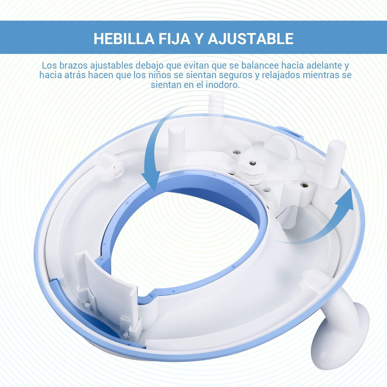 DALMO DCTS01B Reductor WC ergon/ómico Ayuda para aprender a ir al ba/ño Deflector Orinal de Beb/é con Compacto para Viajes Tapa WC con Reposabrazos Azul Asiento Inodoro Ni/ños Dise/ño Antideslizante