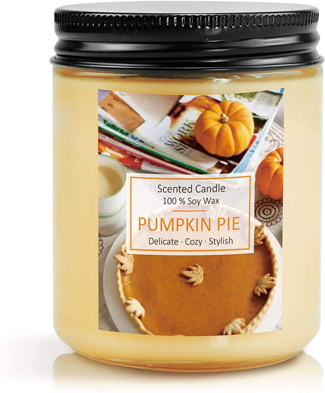 SnailDigit Pumpkin Pie Sweet Fall Scented Candles for Family, Aromatherapy Candles, Soy Wax Candles for Home, Friends