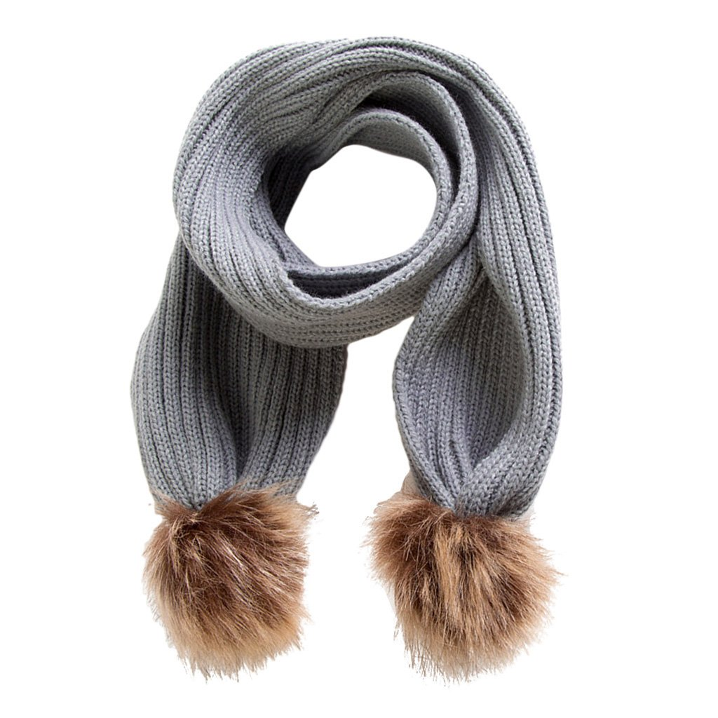 MonkeyJack Kids Soft Knitted Scarf Infant Toddler Fashion Solid Winter Warm Wrap Shawl - Gray, as described