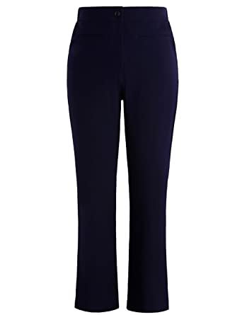 958e3fae15f02 Chicwe Women s Plus Size Curvy Fit Boot Cut Pants - Casual and Work Pants  Trousers Navy
