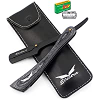Professional Barber Straight Edge Razor With Vintage Wood Handle Black & Grey Cut Throat Shaving Razors – 10 Double Sided Blades Safety Pouch By Electra