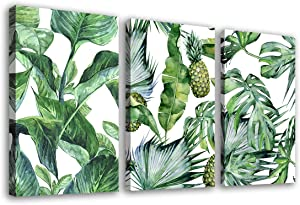 "Green Leaf Wall Art Tropical Plants Contemporary Canvas Pictures Monstera Pineapple Modern Artwork Framed for Bathroom Bedroom Nursery Living Room Home Office Kitchen Wall Decor 16"" x 24"" 3 Pieces"