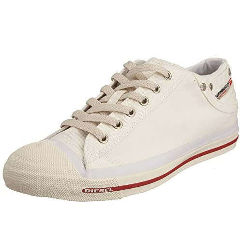 2fb5f3be0d59 Diesel Exposure Lo Off White Red Mens Canvas New Trainers Shoes Boots-41