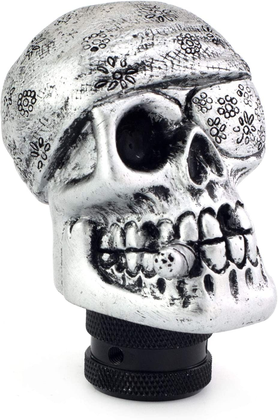 Thruifo MT Skull Gear Knob Shifter One-Eyed Pirate Style Car Stick Shift Head Fit Most Manual Automatic Vehicles Silver