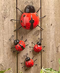 LTD. Set of 4 Metal Garden, Ladybugs