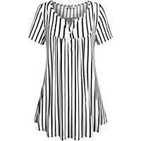 SeSe Code Women's Crewneck Button-up Ruched Short Sleeve Tunic Shirt