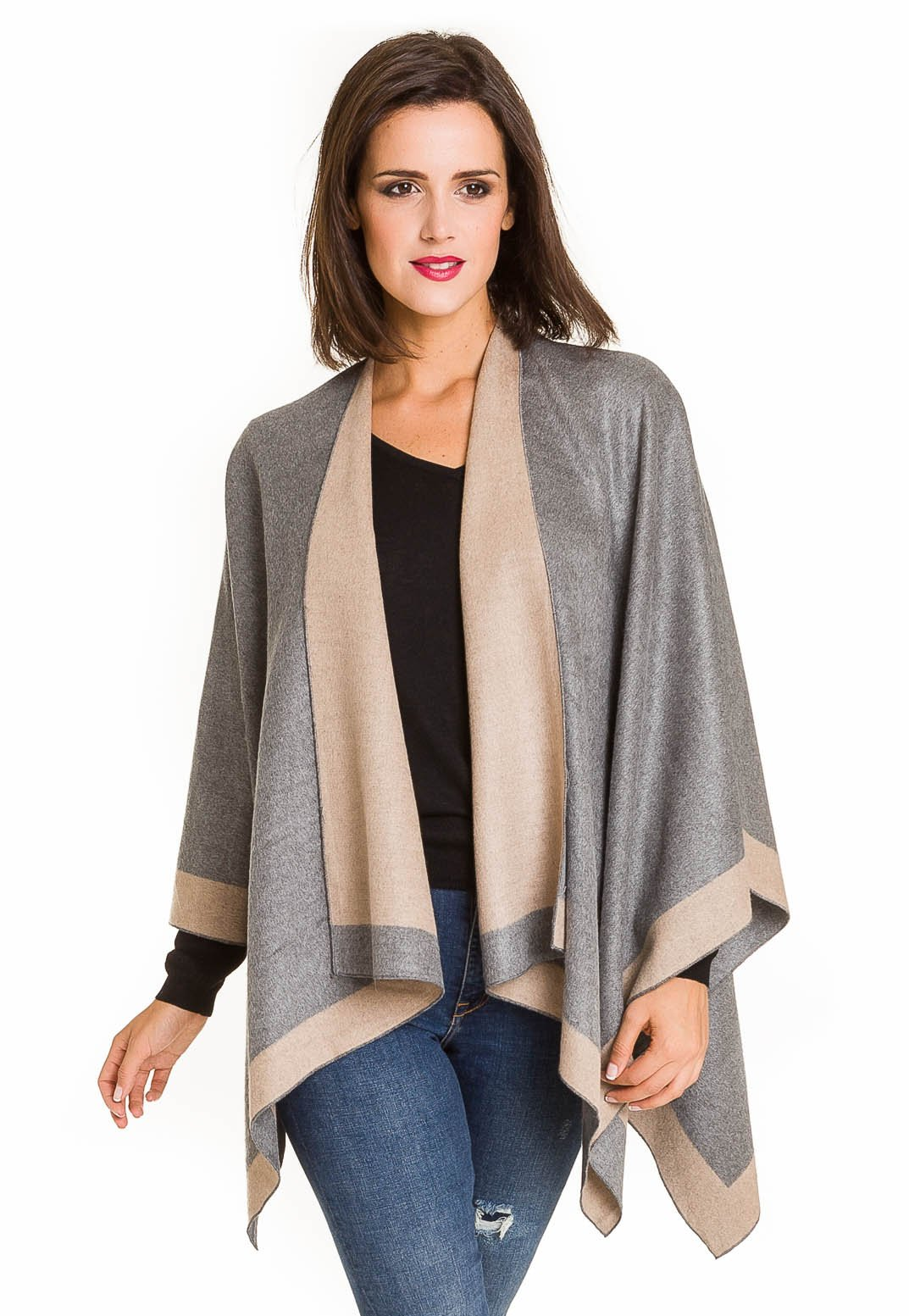 Cardigan Poncho Cape: Women Elegant Gray Beige Reversible Cardigan Shawl Wrap Sweater Coat for Winter (Light Gray Beige) by MELIFLUOS DESIGNED IN SPAIN (Image #3)