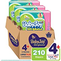 BabyJoy Compressed Diamond Pad, Size 4+, Large+, 12-21 kg, Giant Box, 210 Diapers