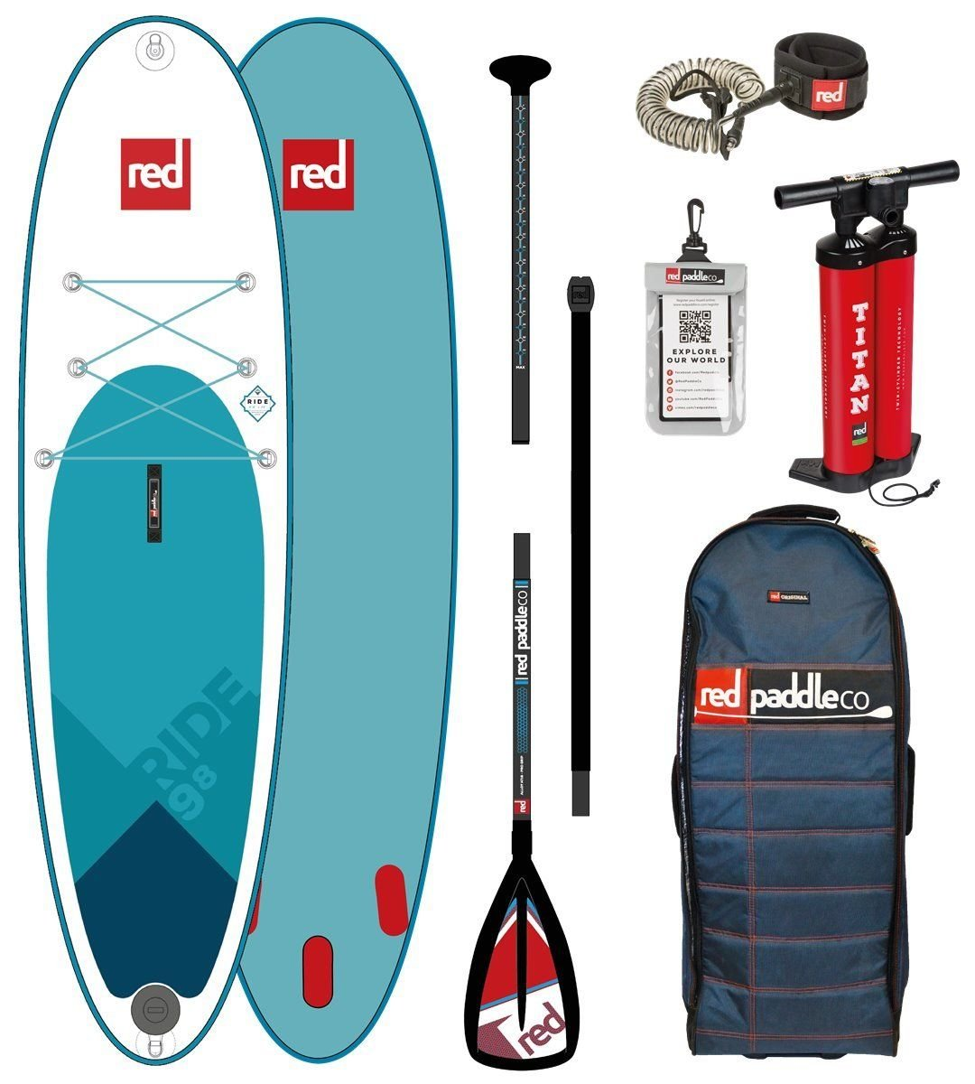 Red Paddle Co 2018 Ride 98 Inflatable Stand Up Paddle Board + Bag ...