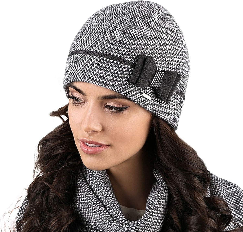 Kamea Damen M/ütze Winterm/ütze Pompon Kopfbedeckung Marsala