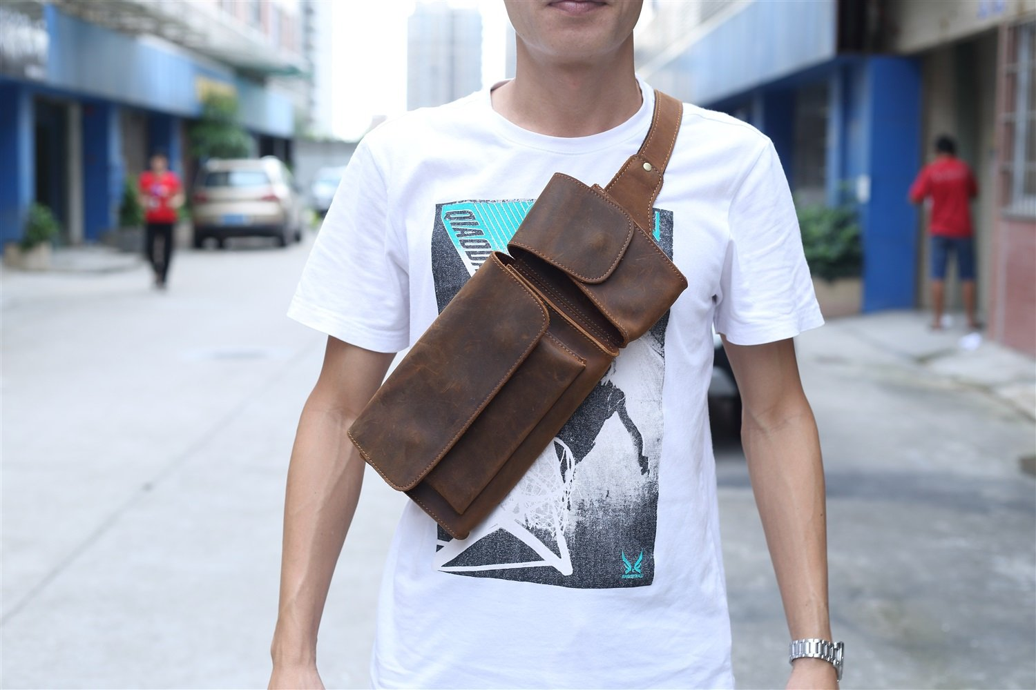 XINXI-MAO Mens Waist Pack Crossbody Sole Cowhide Chest Cross Bag Shoulder Bag Crazy Horse Skinny Purse Color : Brown, Size : S