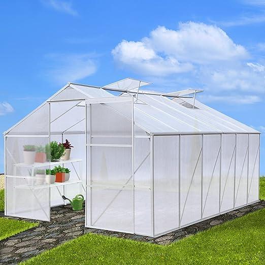 Jago Invernadero Plantas Invernadero hogar jardín de invierno de aluminio de 25 °C a + 60 °C UV con tamaño a elegir: Amazon.es: Jardín