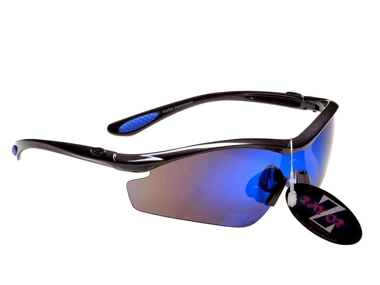 Rayzor Professionelle Leichte UV400 Gun Metall Grau Sports Wrap Schifahren Sonnenbrille, mit einem blauen Iridium Mirrored Blend Lens.