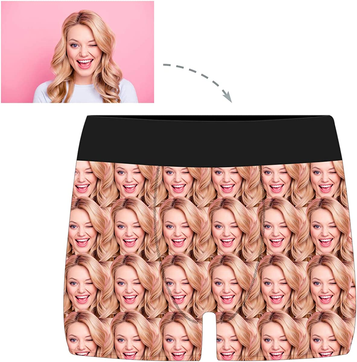 Custom Personalized Funny Face Boxers Briefs for Men Boyfriend with Multi Face Photo