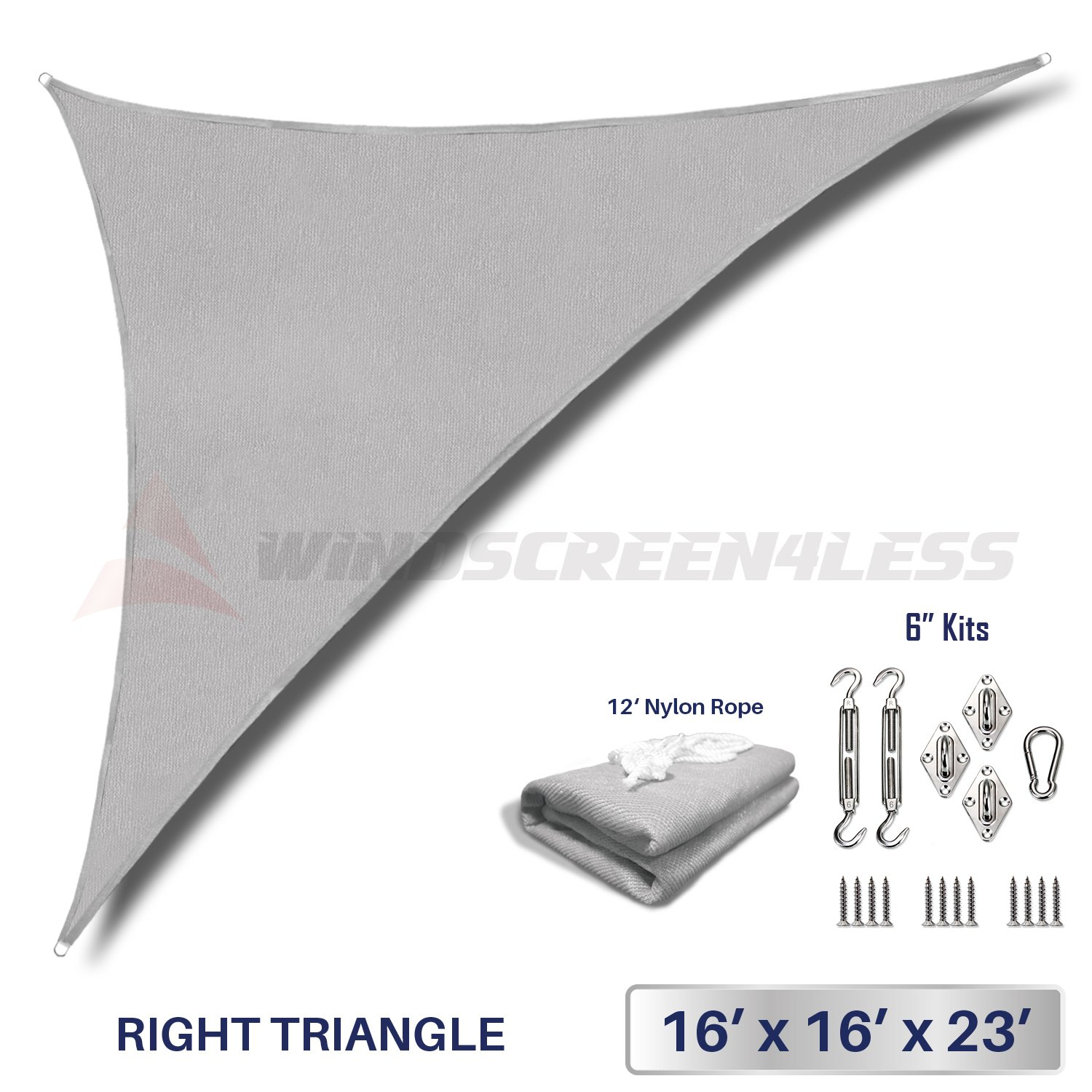 Windscreen4less 16' x 16' x 23' Right Triangle Sun Shade Sail with 6 inch Hardware Kit - Light Grey Durable UV Shelter Canopy for Patio Outdoor Backyard - Custom