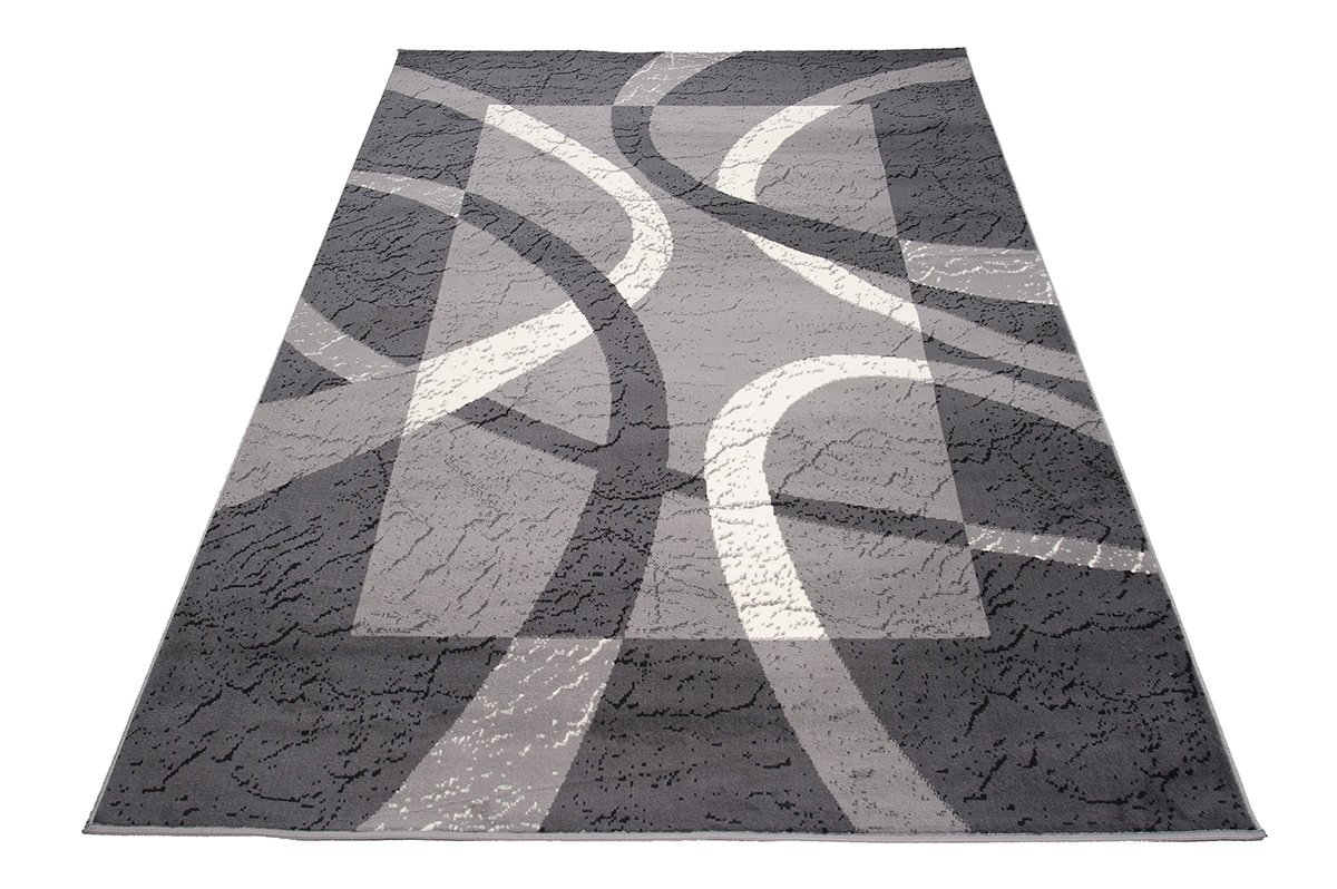 Carpeto Carpeto Carpeto Designer Teppich Modern Rahmen Gestreift Kurzflor Meliert In Grau - ÖKO Tex (140 x 200 cm) B06XSGSMZZ Teppiche 28db27