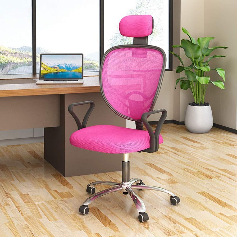 Kontorsstol ergonomisk dator skrivbordsstol med justerbart nackstöd mitten av ryggen excutive stol justerbar höjd nät kontorsstol för kontor mötesrum (färg: svart) Rosa