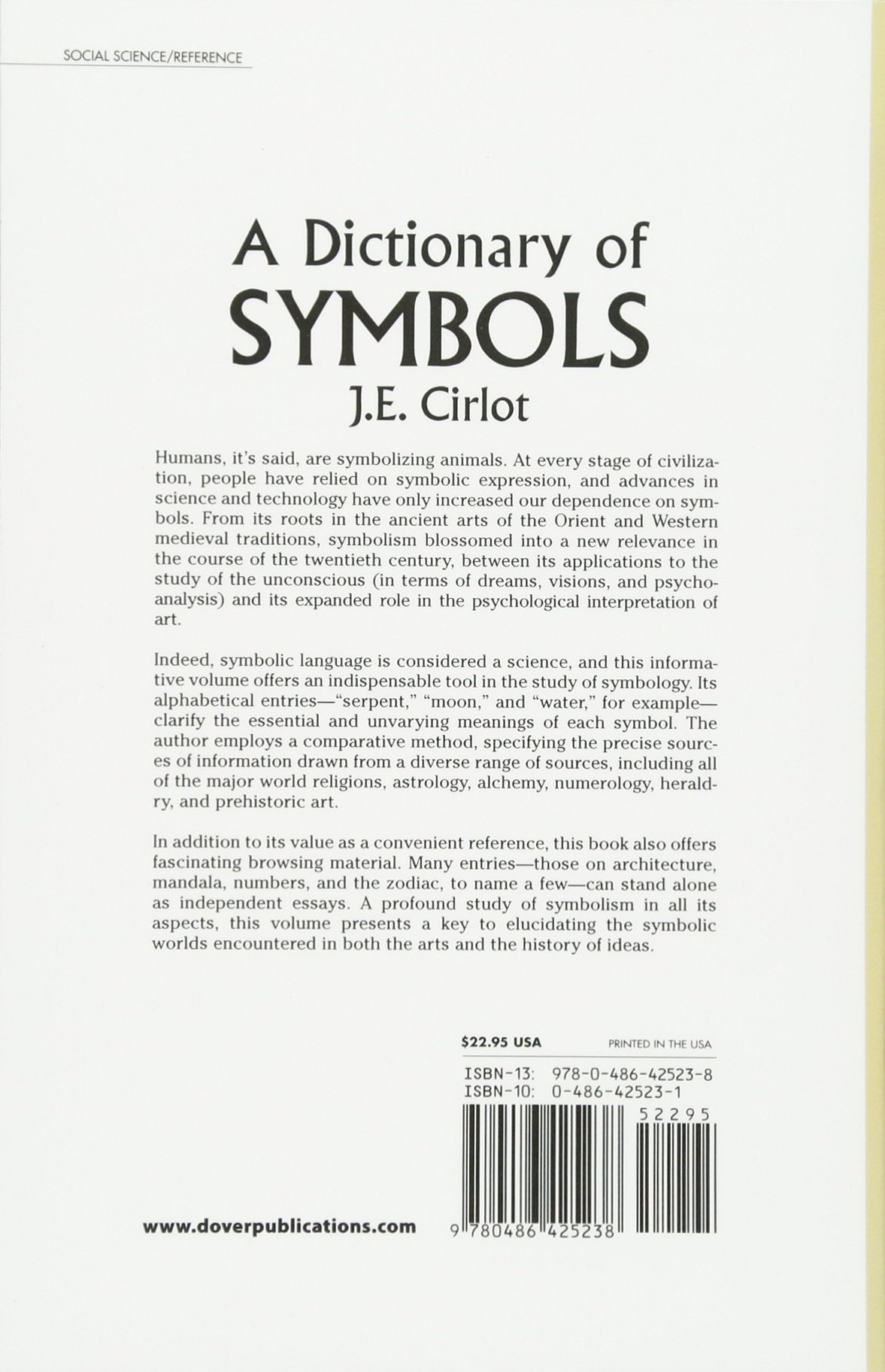 A Dictionary Of Symbols J E Cirlot 0800759425235 Books Amazon