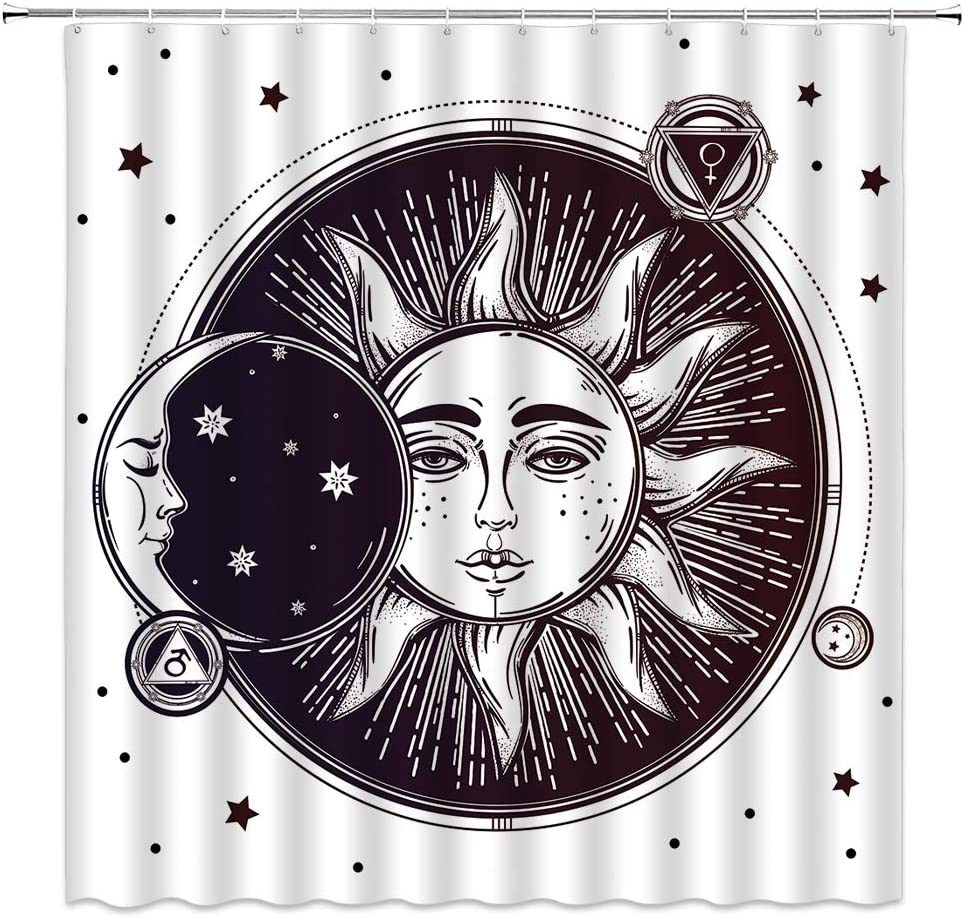 Sun and Moon Shower Curtain, Vintage Sketch Celestial Sun and Moon Star Bohemia Mandala Pattern Fabric Bathroom Decor Sets with 12 Hooks,71X71 Inchs,White Black