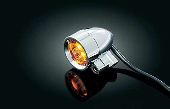 1 Pair Kuryakyn 1645 Motorcycle Lighting Accessory: Dual Function Small Amber Silver Bullets with 3//8-16 Hollow Mounting Bolt LED Running//Turn Signal//Blinker Lights Chrome