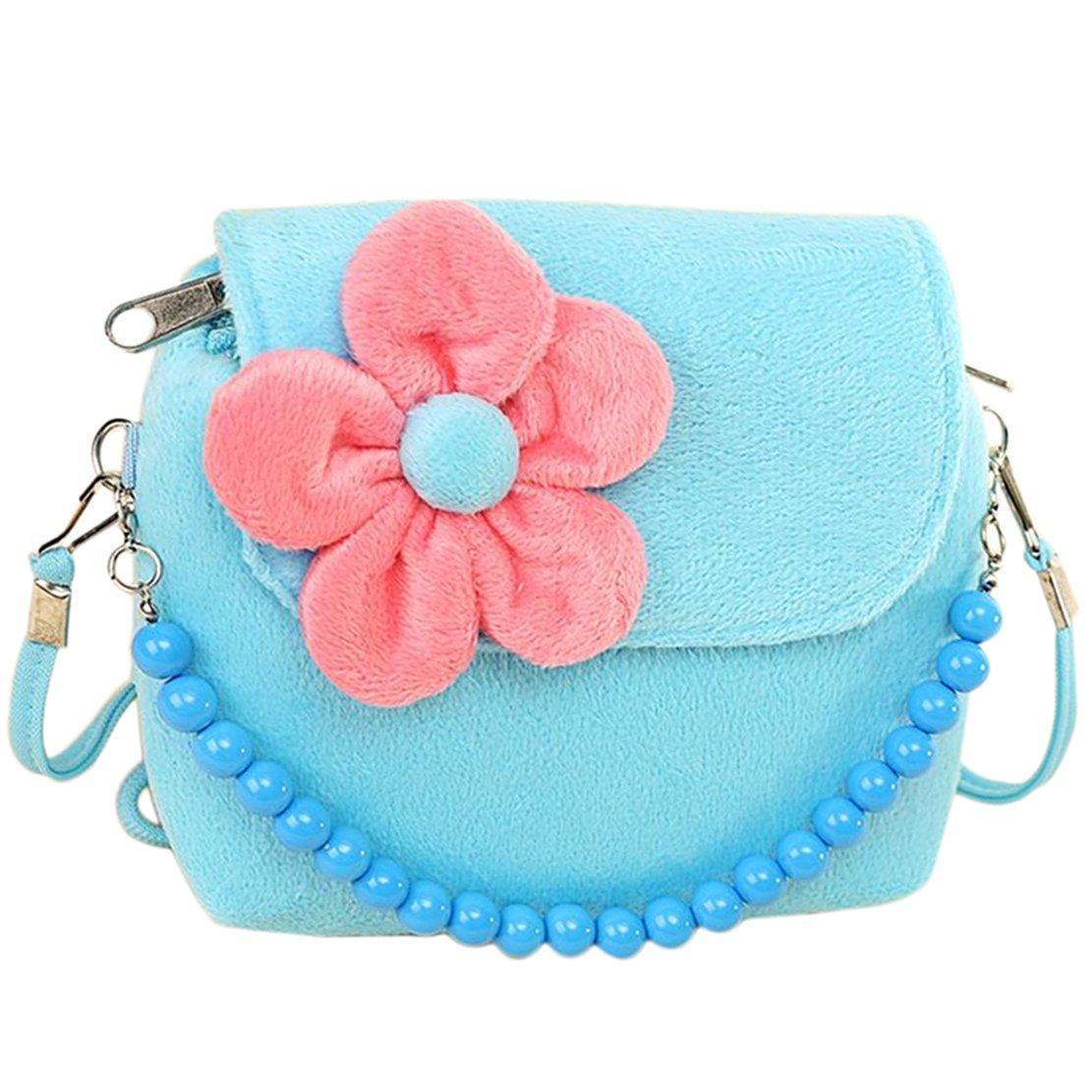 Hydaa Little Girls Handbag Princess Shoulder Bag Fuzzy Floral Cute Purse for Toddlers Preschoolers