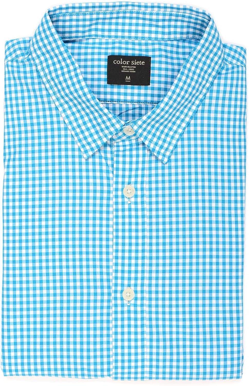 Color Siete - Camisa de popelina de manga larga Wooster, informal y con botones, para hombre, estampado de cuadros