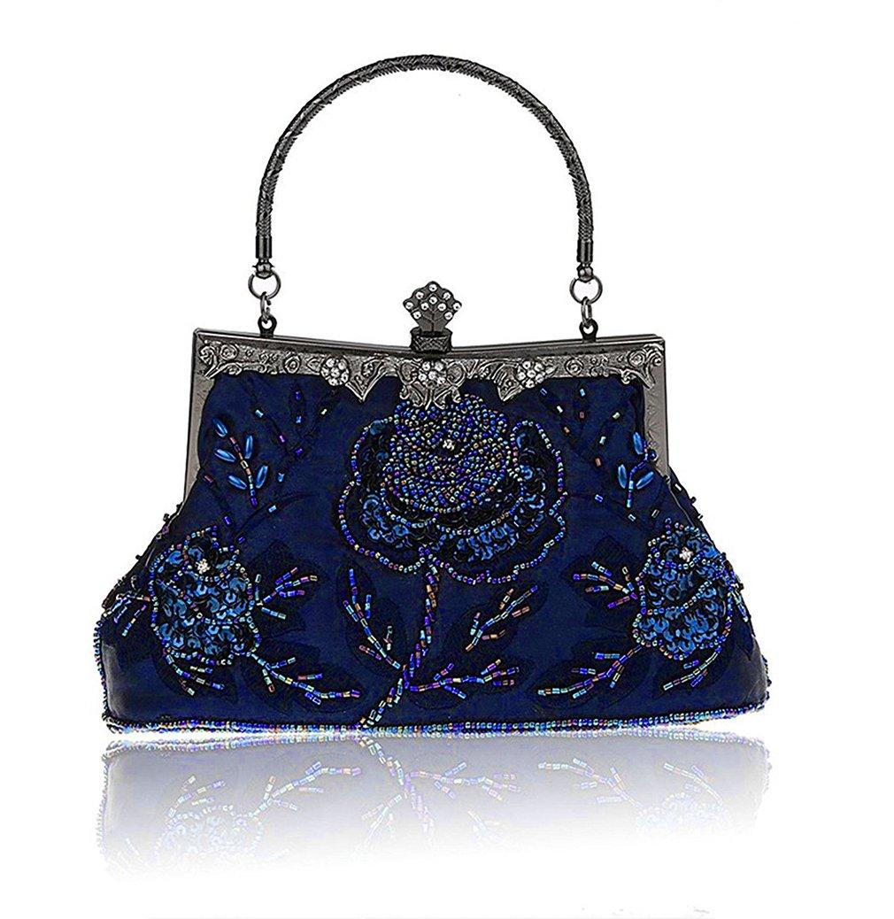 Baglamor Frauen Vintage Style Handtasche Rosen Perlen Geldbörse Pailletten Abendtasche Hochzeit Kupplung