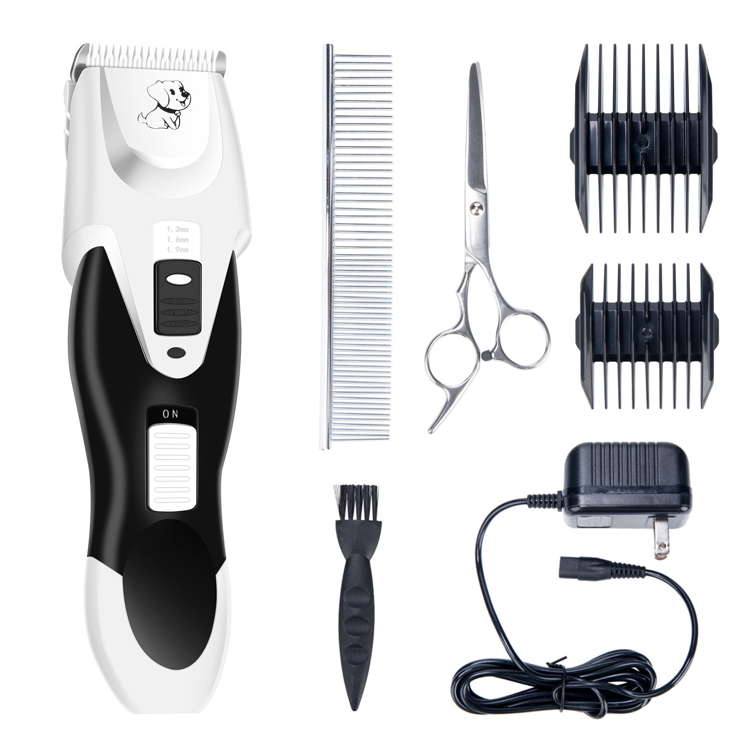 DCCOMPRAS Dog Electric Clipper Cat Shaver Low Noise Pet Grooming Clippers Tool Rechargeable Cordless Trimmer Pet Grooming kit Detachable Blades scissors for Dogs Cats and Other Animals