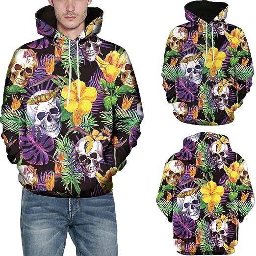 d82c16850021 RedBrowm Men 3D Printed Skull Pullover Long Sleeve Sweatshirt Hooded Blouse  Top at Amazon Men s Clothing store